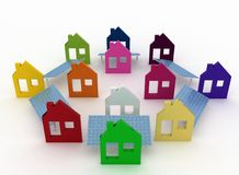 Ecological houses with solar panels Stock Image