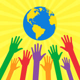 Ecological and humanitarian concepts in flat style. Save world. Hands of people are drawn to different colors globe. Ecological and humanitarian concepts in flat Stock Photos