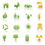 Ecological icon set. Set of green and orange ecological icons vector illustration