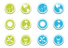 Ecological Icon Set. Ecologic icons in two colors Royalty Free Stock Photography