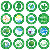 Ecological icons. Collection of drawings on an ecological theme made in the form of green icons of the round form Stock Photography
