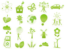 Ecological icons. Set of 20 ecological icons and signs Stock Image