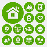 Ecological icons collection. On round green buttons Royalty Free Stock Photos