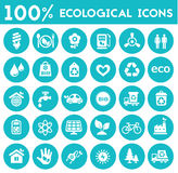 Ecological icons collection. Vector material design green ecological icons collection Royalty Free Stock Photo