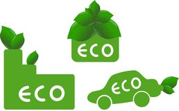 Ecological icons. Green icons of ecological house, car and factory Royalty Free Stock Images