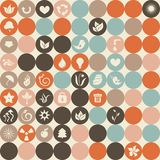 Ecological icons seamless pattern in vector. Ecological icons in retro seamless pattern Royalty Free Stock Image