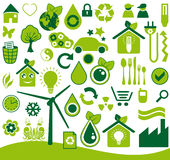 Ecological icons set. Green ecological icons vector set Royalty Free Stock Image