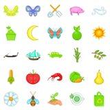 Ecological icons set, cartoon style. Ecological icons set. Cartoon set of 25 ecological vector icons for web isolated on white background Stock Images