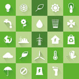 Ecological icons. Set of ecological icons on green backgrounds Stock Image