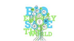 Ecological Icons Tree. Bio Energy. 4K vector illustration