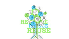 Ecological Icons Tree. Recycle, Reduce, Reuse. 4K vector illustration