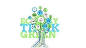 Ecological Icons Tree. Think Green. 4K. Ecological Icons Tree - conceptual animation on the theme of environmental protection and environmental technologies. 4K vector illustration