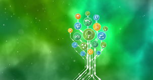 Ecological Icons Tree. Think Green. 4K. We present to you a video file: Ecological Icons Tree. Conceptual animation on the theme of environmental protection and royalty free illustration