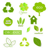 Ecological icons on white. Ecological set of icons and elements on white Royalty Free Stock Image
