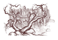 Ecological illustration. Of dead tree in background of contemporary city scape Royalty Free Stock Photos