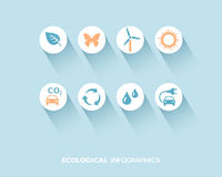 Ecological infographic with flat icons set Stock Images