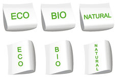 Ecological labels. Set of labels with word bio, eco and natural Royalty Free Stock Image