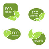 Ecological labels set. Set of frames and labels with green leaves for ecological, organic or natural theme design Stock Images