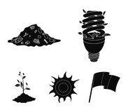 An ecological lamp, the sun, a garbage dump, a sprout from the earth.Bio and ecology set collection icons in black style. Vector symbol stock illustration Royalty Free Stock Photography