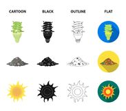 An ecological lamp, the sun, a garbage dump, a sprout from the earth.Bio and ecology set collection icons in cartoon. Black,outline,flat style vector symbol Stock Photo