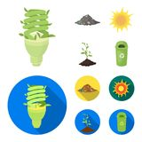 An ecological lamp, the sun, a garbage dump, a sprout from the earth.Bio and ecology set collection icons in cartoon. Flat style vector symbol stock Royalty Free Stock Photography