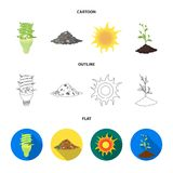 An ecological lamp, the sun, a garbage dump, a sprout from the earth.Bio and ecology set collection icons in cartoon. Outline,flat style vector symbol stock Stock Photo
