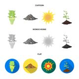 An ecological lamp, the sun, a garbage dump, a sprout from the earth.Bio and ecology set collection icons in cartoon. Flat,monochrome style vector symbol stock Stock Photography