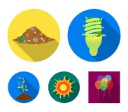 An ecological lamp, the sun, a garbage dump, a sprout from the earth.Bio and ecology set collection icons in flat style. Vector symbol stock illustration Royalty Free Stock Photography