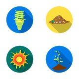 An ecological lamp, the sun, a garbage dump, a sprout from the earth.Bio and ecology set collection icons in flat style. Vector symbol stock illustration Royalty Free Stock Photos