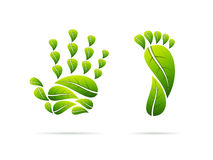 Ecological leaves concept icons. Hand and foot shaped. Vector illustration. Stock Photography