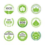 Ecological leaves labels icons set. Ecological green leaves symbols earth friendly organic quality bio products round labels collection abstract isolated vector Stock Photography