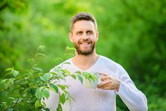 Ecological life for man. man in green forest. morning coffee. healthy lifestyle. nature and health. happy man with cup stock photo