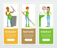 Ecological lifestyle banners with active people Stock Photos