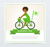 Ecological lifestyle concept with girl riding a bicycle Stock Photography
