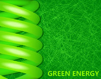 Ecological lightbulbs on a green background Royalty Free Stock Image