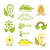 Ecological logo or icon set with green leaves, light bulb, rainbow, flowers and stylized leaves. royalty free illustration