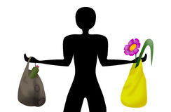 Ecological man. Man silhouette holding garbage in one hand and ecologic friendly stuff in other hand Stock Photos