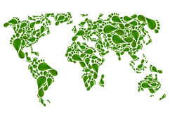 Ecological map of the world in green foot print, Stock Images