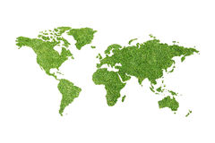 Ecological map of the world in green grass isolated on white bac Stock Photos