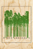 Ecological natural product bar code concept. With green trees silhouettes over wooden texture Royalty Free Stock Photos