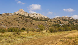 Ecological path between the mountains leading to the Kara-Dag.Crimea Royalty Free Stock Photos