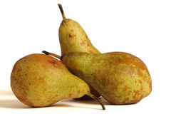 Ecological pears. Fruits harvested ecologically natural looking on a white background royalty free stock photography