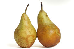 Ecological pears. Fruits harvested ecologically natural looking on a white background stock photo