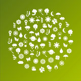 Ecological planet made of icons. Over green background Stock Photos