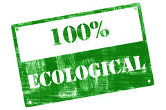 100% Ecological, plate, illustrated with grunge textures Royalty Free Stock Photos