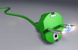 Ecological plug with high voltage arc Royalty Free Stock Photos