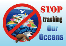 Ecological poster Stop trashing our oceans Royalty Free Stock Photos