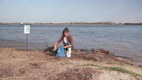 Ecological problem solving, young woman volunteer cleans dirty beach and collects plastic trash in garbage bag and gives stock video footage