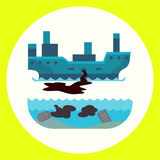 Ecological problems environmental oil pollution of water earth air deforestation destruction of animals mills factories Royalty Free Stock Images