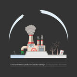 Ecological problems: environmental pollution. Concept in flat design and monochromatic colors. Factory building pouring wastes. Dark background. Infographics Royalty Free Stock Photography